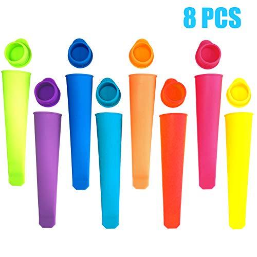 GiantGo Kitchen - Juego de 8 moldes de silicona para paletas de helado con tapas, grado alimenticio, sin BPA, para hacer paletas para la familia, bricolaje y hacer piruletas, coloridos