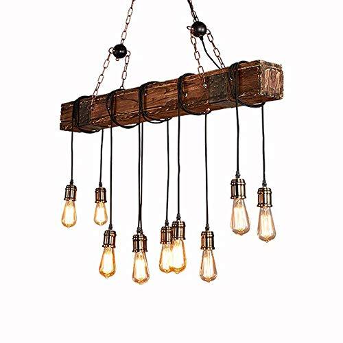 Loft Vintage Lampe Suspension Table à Manger Pendante Lampe Industrielle Rétro Lustre Réglable en Fer Bois pour Salle à Manger Salon Bar Café lampa à suspensionn E27 (10 Ampoules)