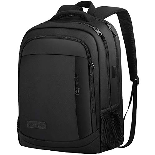 Monsdle Travel Laptop Backpack Anti Theft Water Resistant Backpacks School Computer Bookbag with USB Charging Port for Men Women College Students Fits 15.6 Inch Laptop (Black)