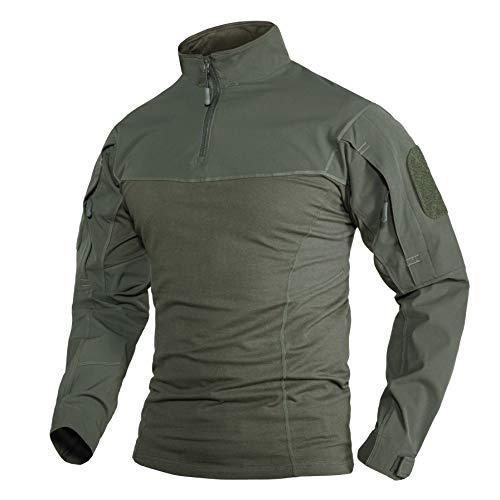 TACVASEN Shirt Coton Homme Manche Longue Chemise Outdoor Chemise de Travail Coton T Shirt Militaire Homme Chemise de Combat Respirante Chemise de Chasse Sport Shirt Trekking Armée Verte Chemise Pêche