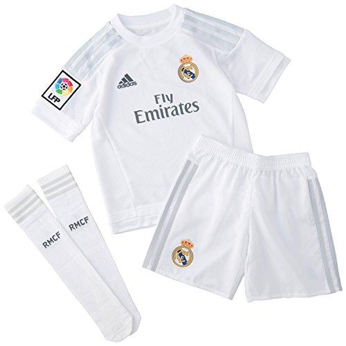 adidas Kinder Fußball-trainingsset Real Madrid Mini-Heimausrüstung, Weiß/Clgrey, 164