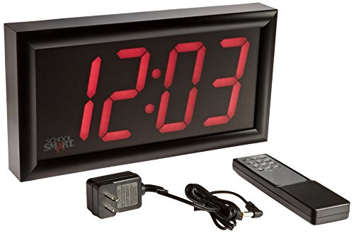 School Smart - 90525 LED Clock with Remote Control, High Visibility, 7 x 13 Inches