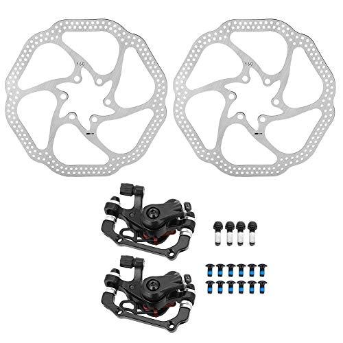 Outbit Freno de Disco mecánico MTB Sistema de Freno de Disco hidráulico Ciclismo Bicicleta Delantera Pinza Trasera con rotores de 160 mm para Bicicletas