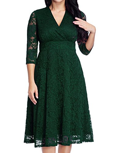 GRAPENT Women's Lace Plus Size Mother of The Bride Skater Dress Bridal Wedding Party Green 18W