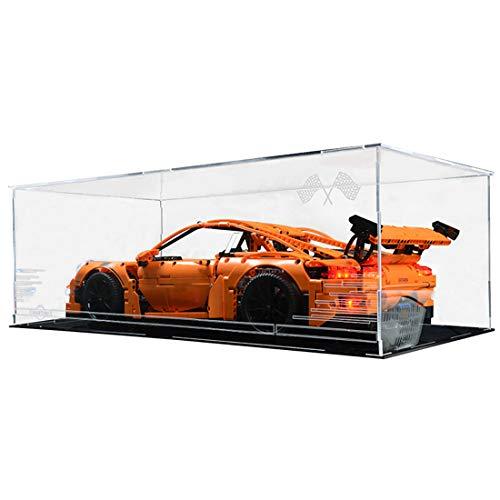 TopBau Professionell Acryl Vitrine Kompatibel mit Lego Technic 42056 Porsche 911 GT3 RS, Staubdicht Vitrine Bausteine Glas Schaukasten für Lego Bausteine Modell