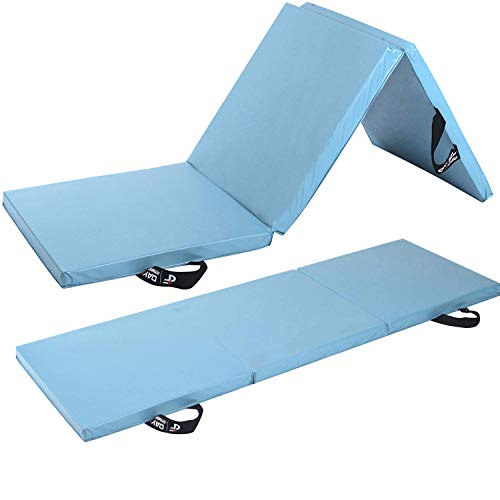Day 1 Fitness Folding Gymnastics Gym Mat  – 4'x6' Light Blue - High-Density Foam, Exercise, Yoga, Gymnastics, Crossfit, Aerobics, Tumbling Mats - Eco-Friendly Foldable Pads