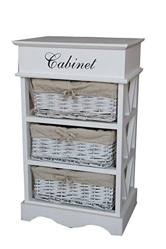 Shabby Chic Modern Wooden White Cabinet Storage Units Cupboard Bedside Table with 3 Wicker Baskets Drawer Bedroom Bathroom Kitchen Furniture (3 Baskets)