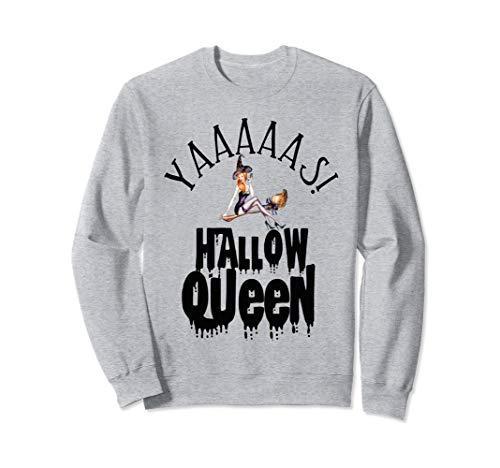 Sexy Pin Up Girl Halloween Witch Broom Yaaas Hallow Queen Sweatshirt