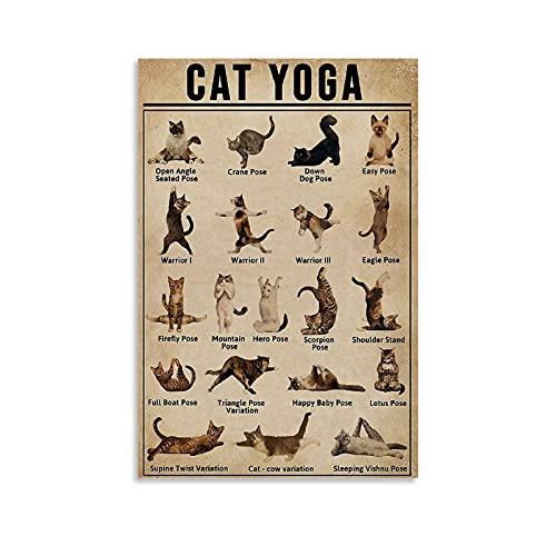SDFGA Póster de gato y yoga, 30 x 45 cm