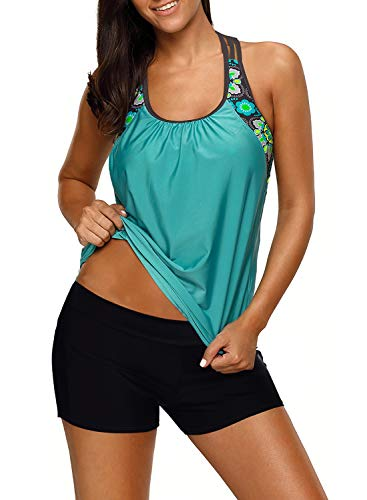 Women's Blouson Floral T-Back Push Up Tankini Top Halter Padded Slimming Swimsuit Sporty Swimwear Mint Green Plus Size X-Large 14 16