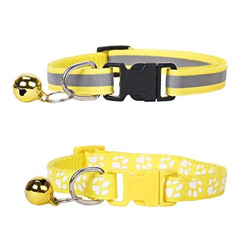 Lidiper 2 Stück Katzenhalsband, Reflektierend Katzenhalsband mit Glöckchen Verstellbar 19-32cm für Katzen und kleine Hunde - Gelb