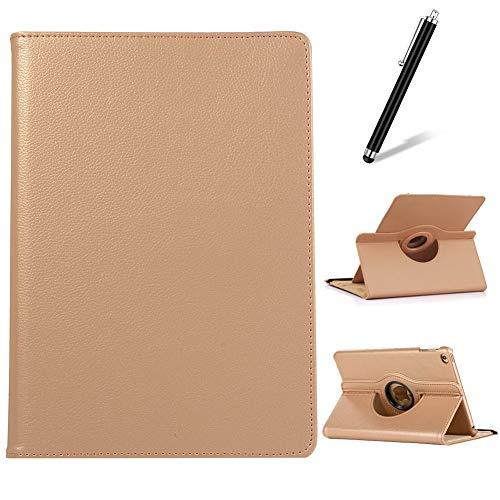 Artfeel Coque pour iPad Mini 1/2/3,Étui à Rabat Cuir Support Rotatif 360 Degrés,Multi-Angle Réglable Mince Léger Flip Folio Tablette Housse,Or