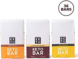 Perfect Keto Variety Bar Bundle, Keto Snacks (36 Count), No Added Sugar. 10g of Protein, Coconut Oil, and Collagen, with a Touch of Sea Salt and Stevia. (3 Boxes, Bundle Pack)