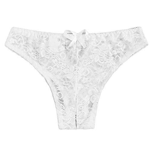 AMUSTER Damen Tanga aus Baumwolle mit Spitze Frauen Sexy Blumenspitze Panty Unterwäsche Slip Plus Ouvert Tanga Dessous