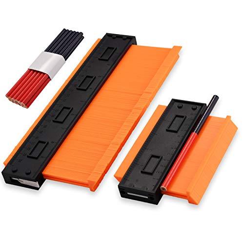 Sephywans Jauge de duplication de contour, 2 verrous réglables précis Duplicateur de copier les formes irrégulières (26 cm + 13 cm) avec 12 crayons à bois, outil pratique pour bricoleur, construction