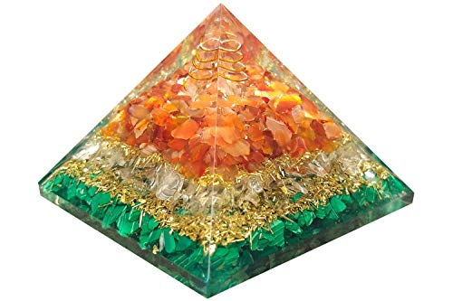 Orgonite Pyramid For Healing Heart | Red Carnelian | Crystal Quartz | Malachite | Orgone Pyramid For Protection | Crystal Chakra Stone By Orgonite Shop