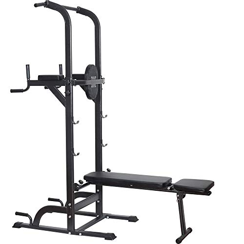 Power Tower Dip Station High Capacity 800lbs w/Weight Sit Up Bench...