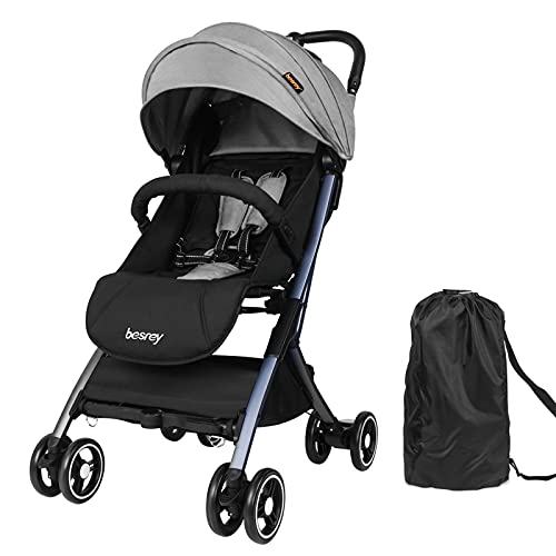 besrey Travel Stroller, Lightweight Baby Stroller with Reclining Seatback, Foldable Compact Stroller for Airplanes, Infant Stroller with UV Protection Canopy 5-Point Safety Harness Fit for 0-3 Years