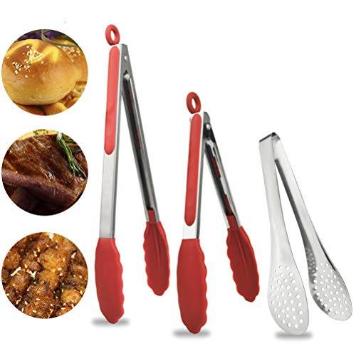 Stainless Steel Locking Kitchen Tongs Set of 3 Heat Resistant Cooking Tongs with Silicone Tips for Food Barbecue Serving Grilling Salad Frying Red