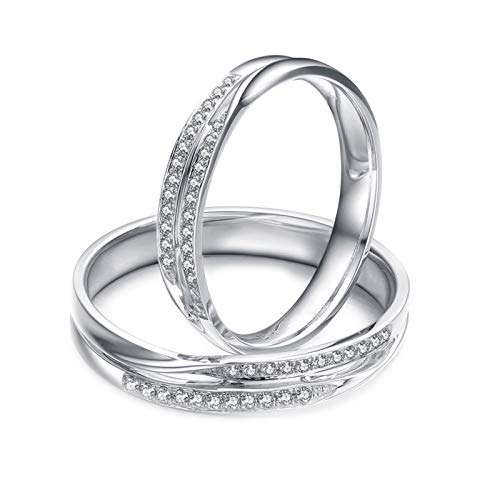 Daesar 18K White Gold Rings Eternity Wedding Rings Set Her and Him Hollow Twisted Lines 0.19ct Wedding Bands Diamonds for Women and Men White Gold Ring Women Size K 1/2 & Men Size T 1/2