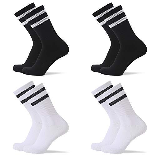 SOFTWEARY Calcetines de tenis para hombre y mujer Performance Crew (4 pares) calcetines deportivos retro 2 negros (rayas blancas) + 2 blancos (rayas negras). 39-42