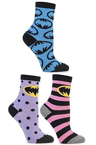 Cartoon Heroes SockShop Frauen 3 Paar Batman-Streifen-Spots und in der ganzen Motivsocken aus Baumwolle 6,5-10,5 Multi
