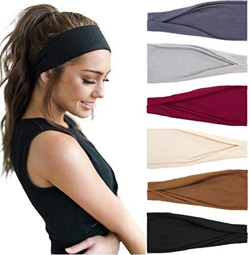 Huachi Women's Headbands Workout Yoga Exercise Headband Sweat Wicking Non Slip Hair Bands Summer Hair Accessories