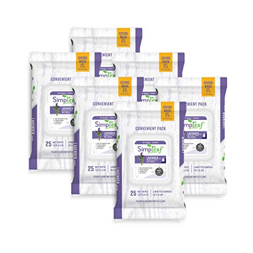 Price comparison product image Simpleaf Flushable Wet Wipes / Eco- Friendly,  Paraben & Alcohol Free / Hypoallergenic & Safe for Sensitive Skin / Soothing Aloe Vera Formula with Lavender Scent / (25-Count) 6 Pack