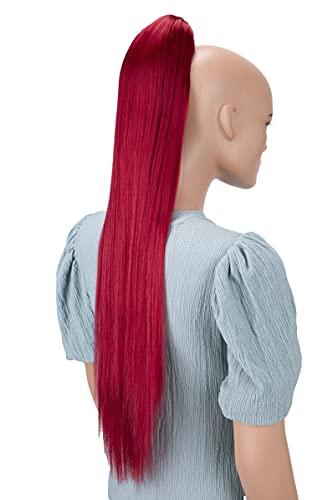 PRETTYSHOP 70cm Haarteil Zopf Pferdeschwanz Haarverlängerung Glatt Rot H100