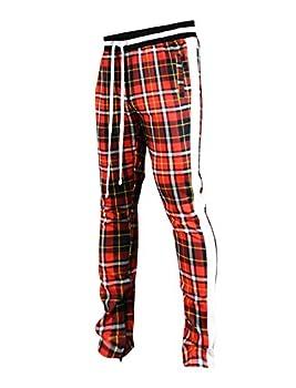 SCREENSHOTBRAND-P41902 Mens Hip Hop Premium Slim Fit Track Pants - Athletic Jogger Checker Pattern Print Taping Bottoms-Red-Medium