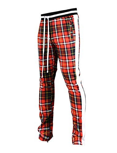 SCREENSHOTBRAND-P41902 Mens Hip Hop Premium Slim Fit Track Pants - Athletic Jogger Checker Pattern Print Taping Bottoms-Red-Large