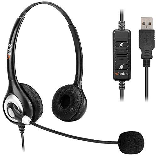 Wantek Auriculares USB Estéreo con Micrófono con Cancelación de Ruido y Controles en Línea, Cascos Business UC para Skype, Softphone, Centros de Llamadas, Voz Cristalina, Ultra Cómodo(UC602)