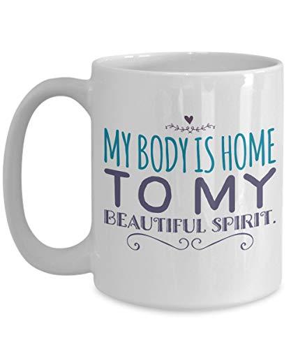 N\A aza de meditación - Mi Cuerpo es el hogar de mi Hermoso espíritu - Taza Grande de café Mantra - Cumpleaños, Aniversario, calcetín, a Dieta, Esposo, Esposa, Amigo, Novio, Novia, homb