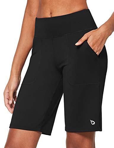 BALEAF Women's 10'' Athletic High-Waisted Bermuda Long Shorts Running Yoga Lounge Stretch Workout Pockets Black Size L