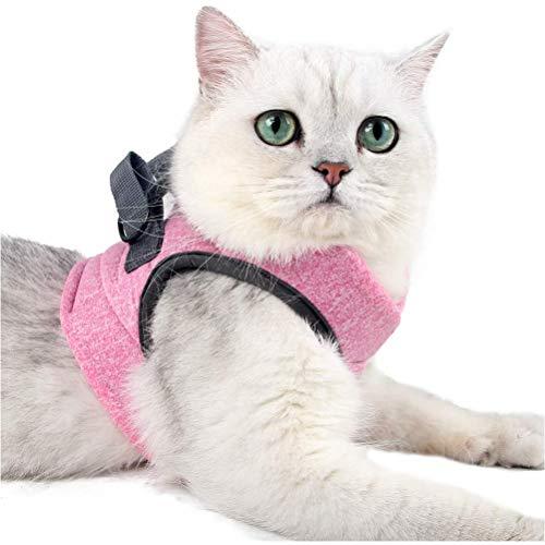 Bireegoo 1 Set Katzenjacken, Katzenweste mit Zugseil, Geschirr und Leine, Kätzchenhalsband, Schnellentriegelung, Sicherheitsweste für Kätzchen und Katzen (Pink M)