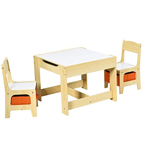 Multigot Wooden Kids Table Chair Set, Two Chairs with Storage Boxes and Double-Side Tabletop Desk for Nursery, Kindergarten, Home