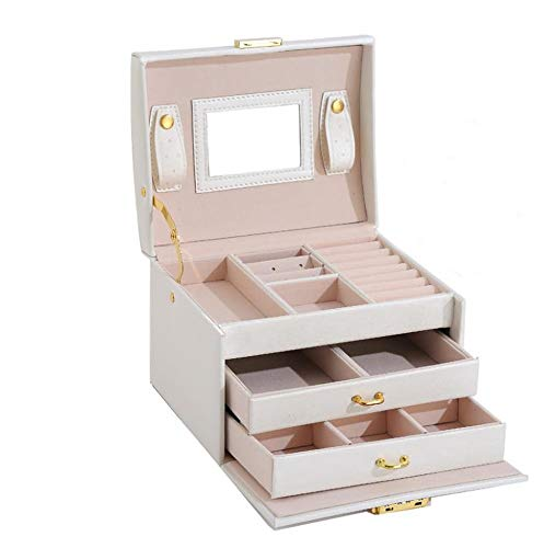 Lilac Fower Shop Lamp Scatola di Gioielli in PU A 3 Strati Doppio Cassetto Bianco Nero Scatola di Immagazzinaggio Rosa (Color : White, Size : 17 * 14 * 12 cm)