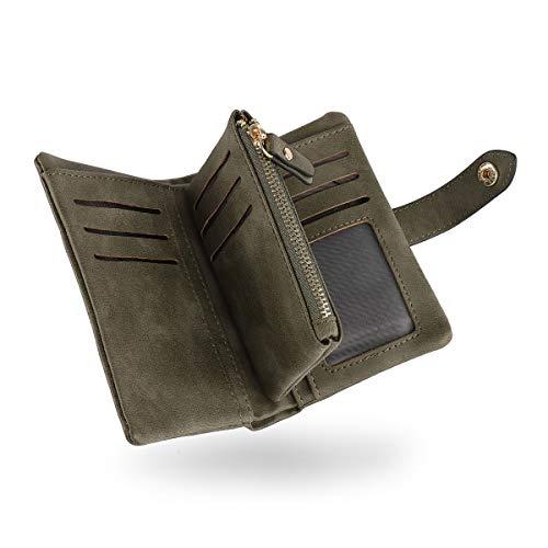 Portafoglio per Giovani Donne,CONISY Elegante Piccolo Portamonete in Pelle Cute Small Wallet Signora (Army Green)
