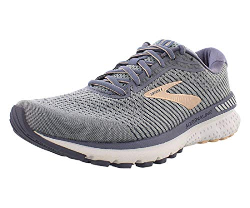 Brooks Women's Adrenaline GTS 20, Grey/Pale Peach/White, 7.5 Medium
