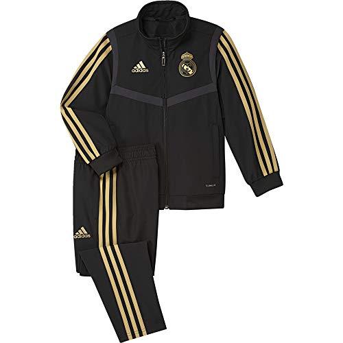 adidas Unisex Kinder Real Madrid Presentation Tracksuit Kids Trainingsanzug, schwarz (Schwarz/Dunkles Fußballgold), 98 (2/3 años)