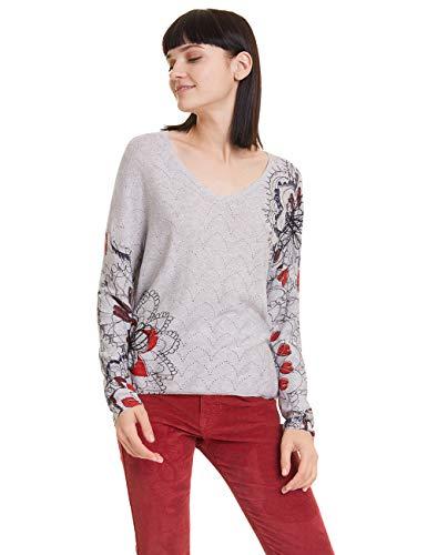 Desigual Damen ARUGAMBAY Pullover, Grau (Gris Plata 2015), X-Large (Herstellergröße: XL)