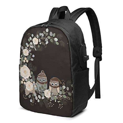 Travel Laptop Backpack, Black Art Owl Hat Travel Laptop Backpack College School Bag Casual Daypack with USB Charging Port
