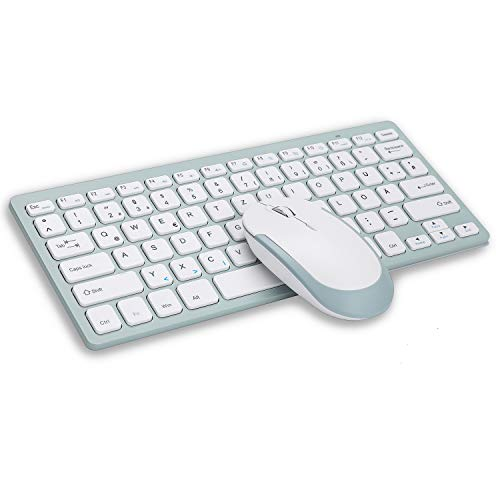 Jelly Comb Tastatur und Maus Set Kabellos, 2.4G Unltra Dünne Funktastatur mit Maus für Laptop, PC und Smart TV, Deutsches Layout QWERTZ, Weiß und Wassergrün