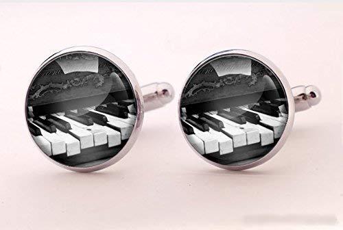 Klavier-Manschettenknöpfe, handgefertigter Schmuck, Musik-Manschettenknöpfe, Glas, runde Silber-Manschettenknöpfe, Kunst-Bild-Schmuck, Charmschmuck, Hemd-Manschettenknöpfe
