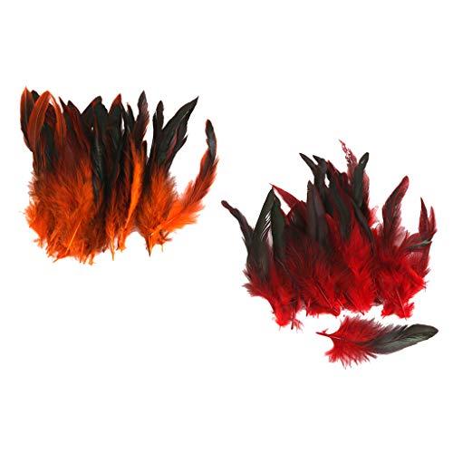 Harilla 100 Lotes Teñidos Naturales de Pollo Gallo Pluma Oreja Costura Manualidades 4-7 Pulgadas