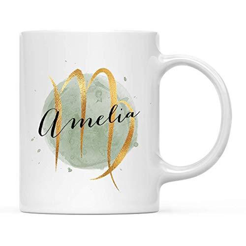 Taza de café con nombre personalizado, signo del zodiaco astrológico, regalo, acuarela de lámina de oro de imitación de Virgo, 1 paquete, horóscopo personalizado, cumpleaños, Navidad, oficina, taza, r