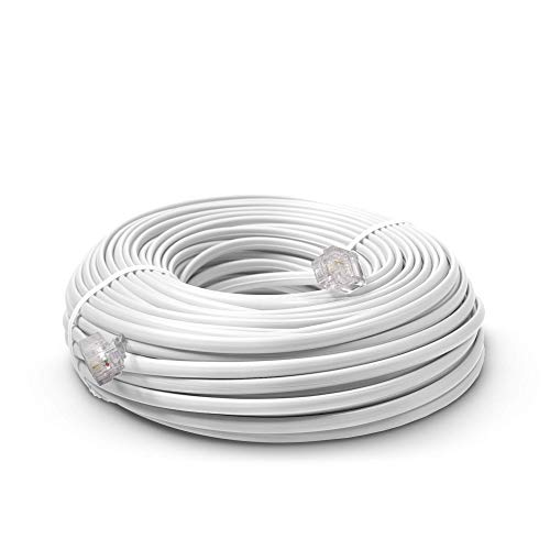 Phone Line Cord 50 Feet - Modular Telephone Extension Cord 50 Feet - 2 Conductor (2 pin, 1 line) Cable - Works Great with FAX, AIO, and Other Machines - White