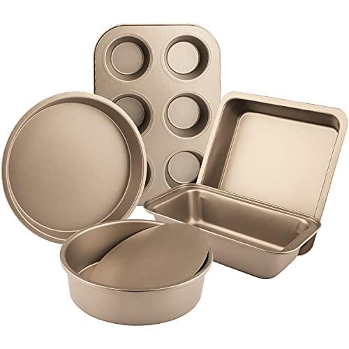 IAXSEE 5-Piece Toaster Oven Pans Bakeware Set Includes Nonstick Cake Pans/Loaf Pan/Cupcake Pan/Pizza Pan/Cookie Pan, Carbon Steel Baking Pan Set