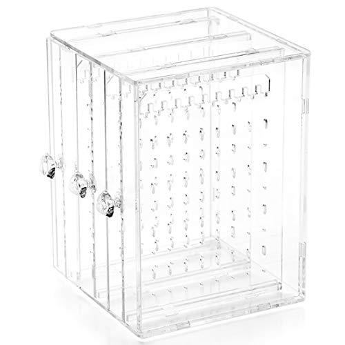 WEIJ - Caja de almacenamiento de acrílico para pendientes, organizador con 3 cajones verticales, transparente