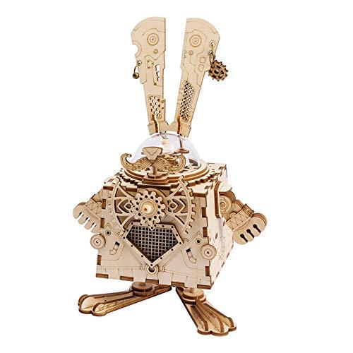 Robotime Juguetes de Conejo de Corte de láser de Madera - DIY Caja de música de Punk - Juegos de Modelo de construcción Juguetes de Conejo para 8 años de Edad y hasta